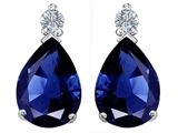Star K™ Pear Shape 8x6 mm Created Blue Sapphire Earrings Studs style: 305979
