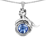Star K™ Cat Lover Pendant Necklace with March Birth Month Simulated Aquamarine style: 305985