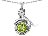 Star K™ Cat Lover Pendant Necklace with August Birth Month Simulated Peridot style: 305986