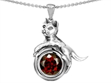 Star K™ Cat Lover Pendant Necklace with January Birth Month Simulated Garnet style: 305987