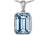 Star K™ Emerald Cut 10x8mm Simulated Aquamarine Pendant Necklace style: 305990