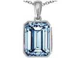 Star K™ Emerald Cut 10x8mm Simulated Aquamarine Pendant Necklace style: 305990