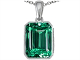 Star K™ Emerald Cut 10x8mm Simulated Emerald Pendant Necklace style: 305991