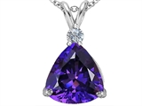 Star K™ Large 12mm Trillion Cut Simulated Amethyst Pendant Necklace style: 305996