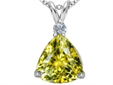 Star K™ Large 12mm Trillion Cut Simulated Yellow Sapphire Pendant Necklace style: 306009