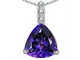 Star K™ Large 12mm Trillion Cut Simulated Amethyst Pendant Necklace style: 306012