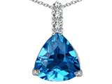 Star K™ Large 12mm Trillion Cut Simulated Blue Topaz Pendant Necklace style: 306017