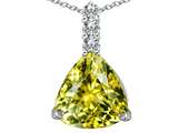 Star K™ Large 12mm Trillion Cut Simulated Yellow Sapphire Pendant Necklace style: 306019