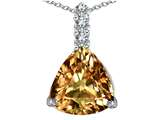 Star K™ Large 12mm Trillion Cut Simulated Imperial Yellow Topaz Pendant Necklace style: 306020