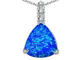 Star K™ Large 12mm Trillion Cut Blue Created Opal and Cubic Zirconia Pendant Necklace style: 306021