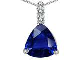 Star K™ Large 12mm Trillion Cut Created Blue Sapphire Pendant Necklace style: 306026