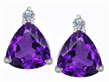 Star K™ 7mm Trillion Cut Simulated Amethyst Earrings Studs style: 306028