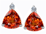 Star K™ 7mm Trillion Cut Simulated Mexican Orange Fire Opal Earrings Studs style: 306031