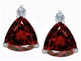 Star K™ 7mm Trillion Cut Simulated Garnet Earrings Studs style: 306032