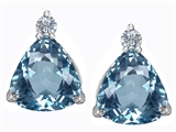 Original Star K™ 7mm Trillion Cut Simulated Aquamarine Earrings Studs style: 306033