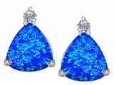 Star K™ 7mm Trillion Cut Blue Created Opal Earrings Studs style: 306034