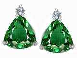 Original Star K™ 7mm Trillion Cut Simulated Emerald Earrings Studs style: 306035