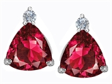 Star K™ 7mm Trillion Cut Created Ruby Earrings Studs style: 306038