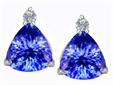 Star K™ 7mm Trillion Cut Simulated Tanzanite Earrings Studs style: 306040