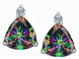 Original Star K™ 7mm Trillion Cut Rainbow Mystic Topaz Earrings Studs style: 306041