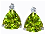 Star K™ 7mm Trillion Cut Simulated Peridot and Cubic Zirconia Earrings Studs style: 306042