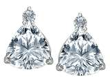 Star K™ 7mm Trillion Cut Genuine White Topaz Earrings Studs style: 306043