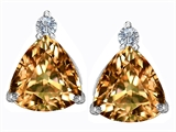 Star K™ 7mm Trillion Cut Simulated Imperial Yellow Topaz Earrings Studs style: 306044