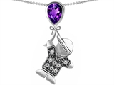 Original Star K™ Boy Holding a Balloon Mother February Birth Month Pear Shape Simulated Amethyst Pendant style: 306047