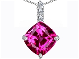 Star K™ Large 12mm Cushion Cut Created Pink Sapphire Pendant Necklace style: 306056