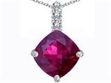 Star K™ Large 12mm Cushion Cut Created Ruby Pendant Necklace style: 306057