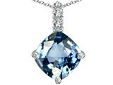 Star K™ Large 12mm Cushion Cut Simulated Aquamarine Pendant Necklace style: 306061