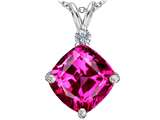 Star K™ Large 12mm Cushion Cut Created Pink Sapphire Pendant Necklace style: 306072