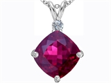 Star K™ Large 12mm Cushion Cut Created Ruby Pendant Necklace style: 306073