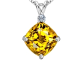 Star K™ Large 12mm Cushion-Cut Simulated Citrine Pendant Necklace style: 306079
