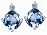 Star K™ 7mm Cushion Cut Simulated Aquamarine Earrings Studs style: 306090