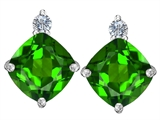 Star K™ 7mm Cushion Cut Simulated Emerald Earrings Studs style: 306091