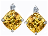 Star K™ 7mm Cushion Cut Simulated Imperial Yellow Topaz Earrings Studs style: 306095
