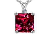 Star K™ Large 12mm Square Cut Created Ruby Pendant Necklace style: 306114
