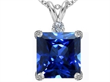 Star K™ Large 12mm Square Cut Simulated Sapphire Pendant Necklace style: 306115