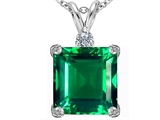 Star K™ Large 12mm Square Cut Simulated Emerald Pendant Necklace style: 306120
