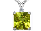Star K™ Large 12mm Square Cut Simulated Peridot and Cubic Zirconia Pendant Necklace style: 306122
