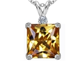 Star K™ Large 12mm Square Cut Simulated Imperial Yellow Topaz Pendant Necklace style: 306124