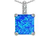 Star K™ Large 12mm Square Cut Blue Created Opal Pendant Necklace style: 306127