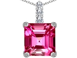 Star K™ Large 12mm Square Cut Created Pink Sapphire Pendant Necklace style: 306130