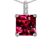 Star K™ Large 12mm Square Cut Created Ruby Pendant Necklace style: 306131