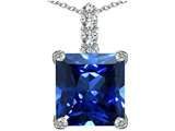 Star K™ Large 12mm Square Cut Simulated Sapphire Pendant Necklace style: 306132