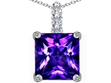 Star K™ Large 12mm Square Cut Simulated Amethyst Pendant Necklace style: 306134