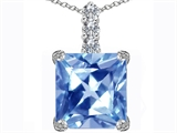 Star K™ Large 12mm Square Cut Simulated Aquamarine Pendant Necklace style: 306135