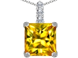 Star K™ Large 12mm Square Cut Simulated Citrine Pendant Necklace style: 306137