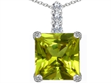 Star K™ Large 12mm Square Cut Simulated Peridot and Cubic Zirconia Pendant Necklace style: 306140